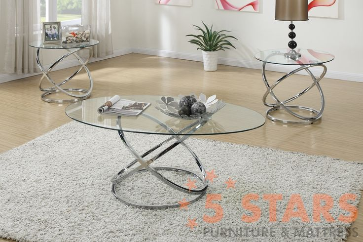 3PC COFFEE TABLE SET GLASS TOP
