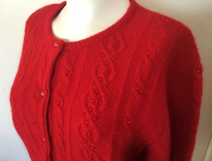 Xmas Red Lambswool Sweater Angora Rabbit Cardigan Holiday Party Medium Gift NWT #EssentialElements #Cardigan