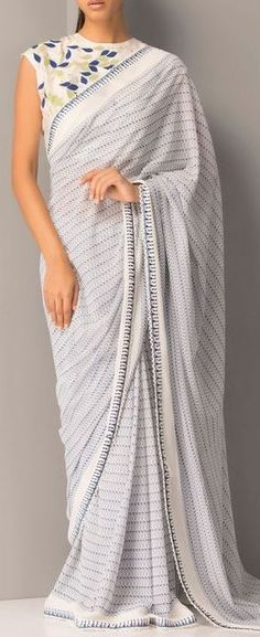 Simple Off White Embroidered Saree