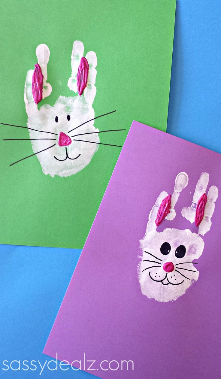 Easter Bunny Rabbit Handprint Craft for Kids! Easter art project idea. Preschool. Easy keepsake.