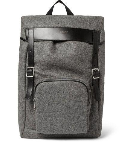 Saint LaurentLeather-Trimmed Flannel Backpack