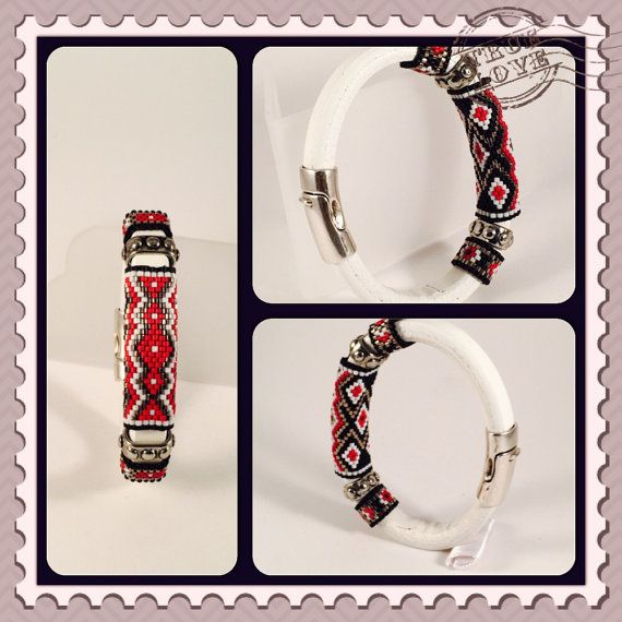 Red Cloud Sead Beaded Leather Bangle by Calisi on Etsy