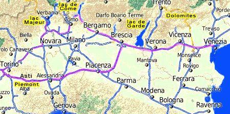 carte de l'italie du nord