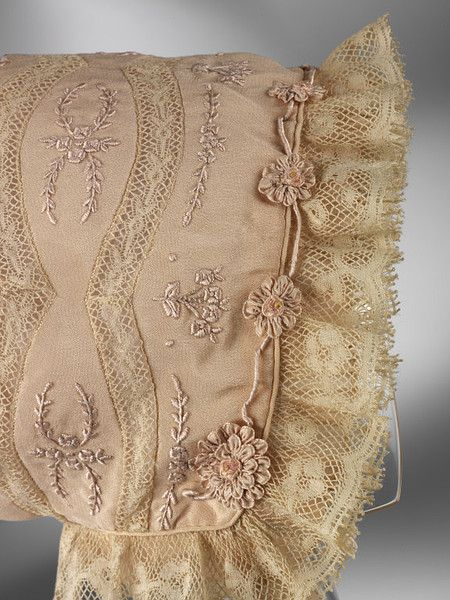 Hand embroidered silk bonnet