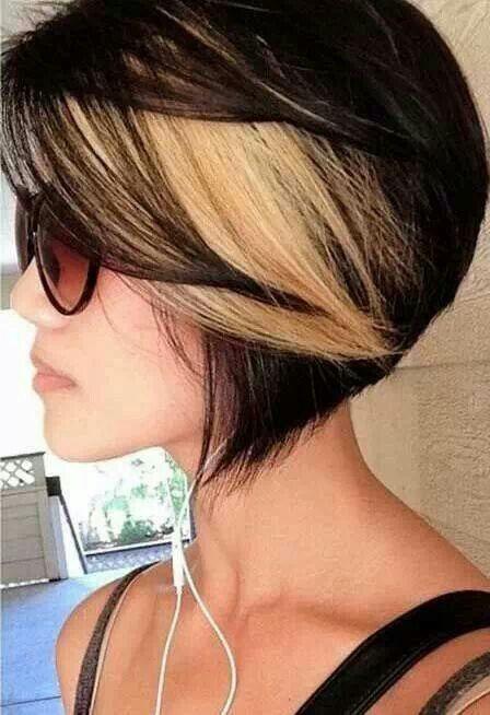 Dk Brown + blonde streak