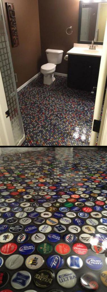 Man cave bottle top flooring Man - click here to check out these 31 amazing DIY hacks for your man cave!