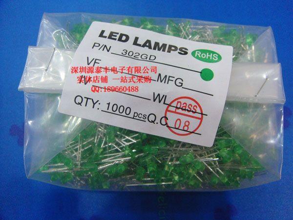 Зеленый светодиод короткие ноги выделите 3 мм зеленые волосы зеленый СВЕТОДИОД световой трубки зеленый свет