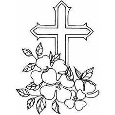 Cross And Dogwood Flower Tattoo