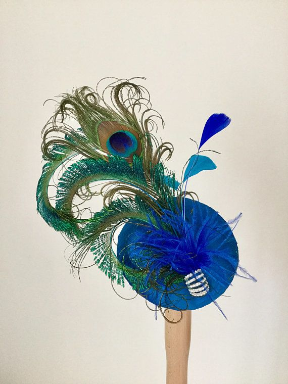 d435f2c0e84a4 Silk Peacock feather cocktail hat