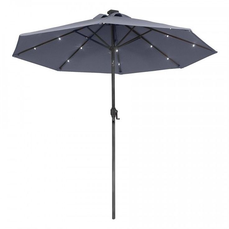 Garden Parasol Umbrella Outdoor Patio Sun Shade Canopy Market LED Lights Black #GardenParasolUmbrella #MarketUmbrella