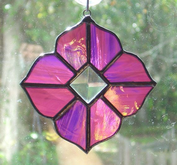 """Purple Iridescent Victorian Stained Glass Suncatcher with Beveled Glass GREAT GIFT 4.5 x 4.5"""", $25"""