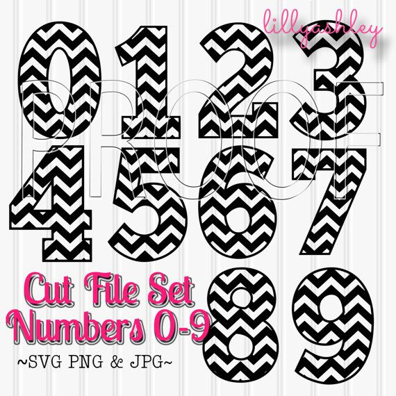 Chevron Numbers Cut File Set Includes 0 through 9 by LillyAshley Great for baby month shirts or birthday shirts using HTV!