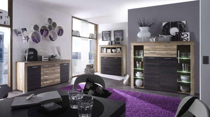 Vetrina moderna Azalea, credenza con led, mobile soggiorno di design