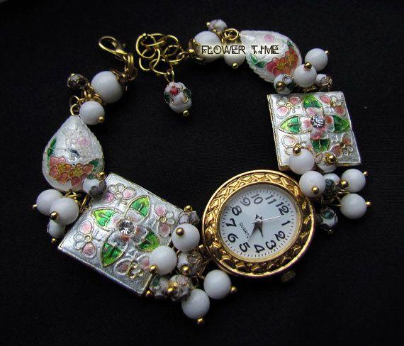 White wrist watch handmade ladies watch cloisonne by FlowerWatch