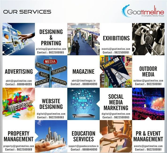 GoaTimeline is a complete Media House. Learn more by visiting our website: www.goatimeline.com #SocialMediaMarketing #Advertising #PublicRelations #EventManagement #Design #Printing #TimelineGOAMagazine #Property #Education