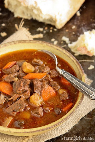 Use GF broth & Worcestershire sauce. Serve with GF bread!  Slow Cooker Hungarian Goulash - afarmgirlsdabbles.com