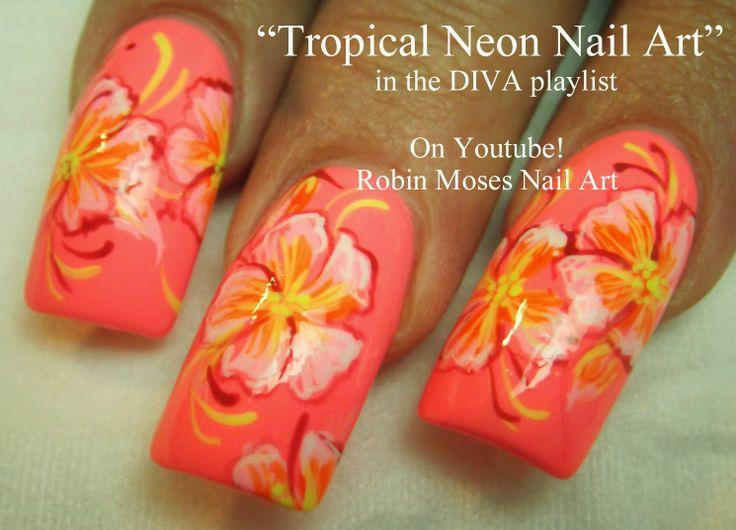 """Nail-art by Robin Moses: """"tropical nails"""" """"nail art"""" """"tropical design"""" """"tropical short nail"""" """"vacation nails"""" """"tropical neon"""" design tutorial how to diy robin moses """"hibiscus nails"""" """"iris nails"""""""