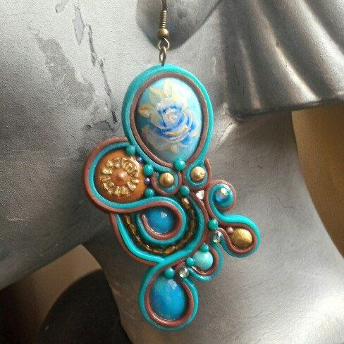 Turquoise Soutache polymer clay earings
