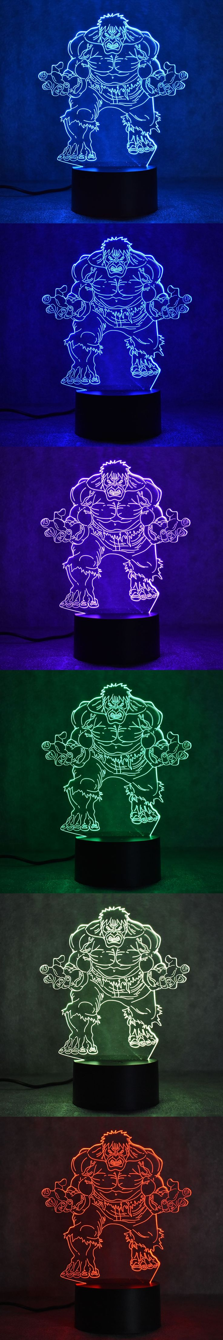 3D Visual LED Hulk Table Lamp USB Bedside Sleeping Night Light Creative Super Hero Figure Shape Lamp Novelty Light Fixture Gifts