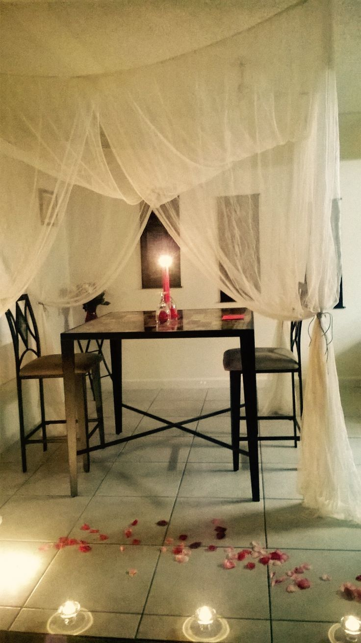 A creative way to have a romantic dinner at home. I did this for Valentines Day. It took a bit of time to hang the canopy but it was worth it.