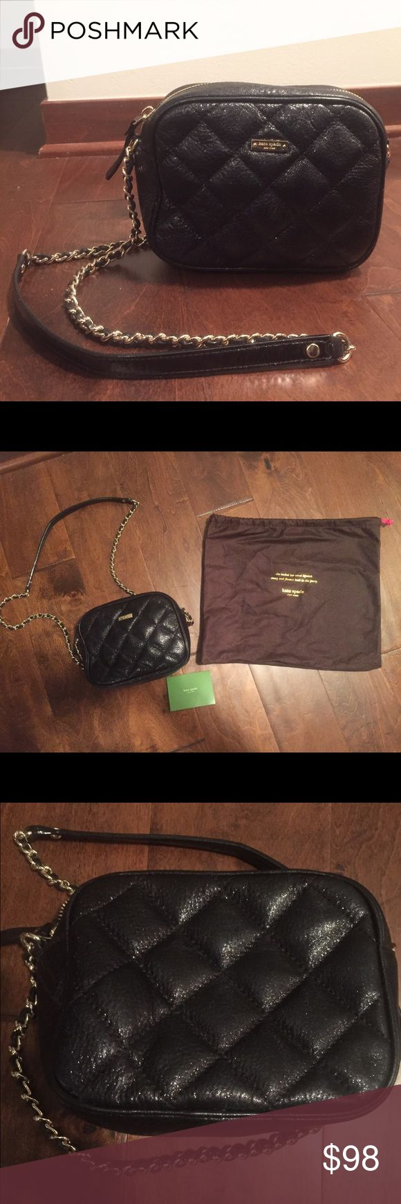 """Kate Spade Lauralee Gold Coast Crossbody Bag *NEW LOW PRICE (11/8 only) *Authentic Kate Spade purse, Excellent Condition, New w/o the tags on.  *Comes w/ original Kate Spade dust bag to store the purse in & original green care card   *Diamond quilting on crinkled leather  *Single strap w/ gold chain embellishment-- can be worn as a crossbody bag or off one shoulder-- 18"""" length  *14K Gold-tone detailed hardware with front logo plaque   *7 3/4 wide x 3 1/4 deep x 5 high. kate spade Bags…"""