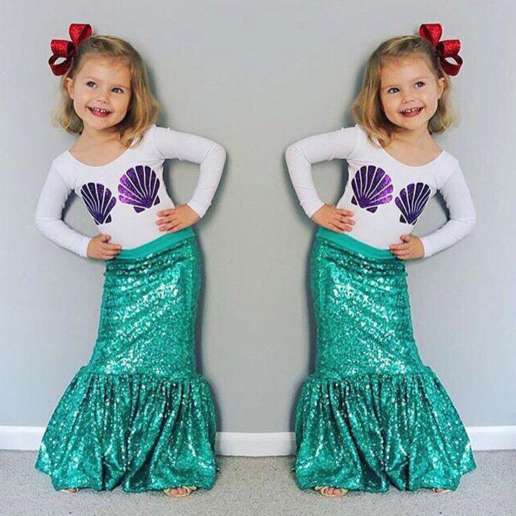 Children Kids Baby Girl Shell Tops T-shirt+Skirts Mermaid 2pcs Outfits Costume…