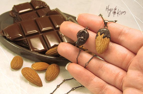 Chocolate Almond Necklace Personalized Necklace by HugsKissesMINI
