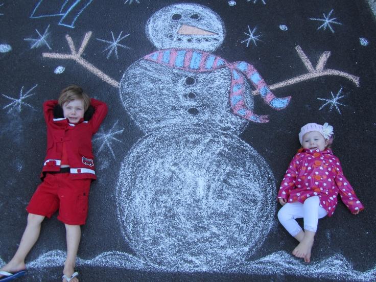 Chalk snowman pic - cool Christmas Card idea.