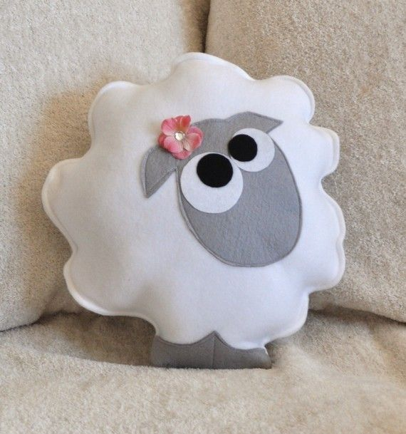 Nursery Decor Count the Sheep Plush Pillow -Gray