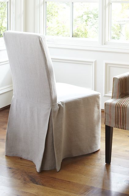 [+] 100 Linen Long Dining Room Chair Slipcover