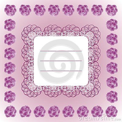 Decorative #text #frame with #lace and #roses on #purple #background