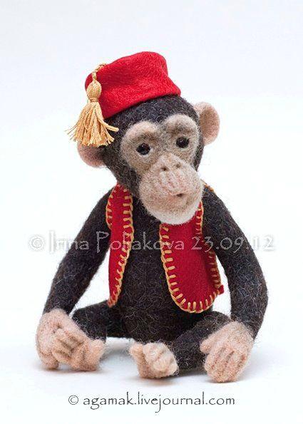 «Феликс», обезьян, который хотел быть человеком. Авторская валяная игрушка. - Валяние из шерсти. Игрушки Ирины Поляковой