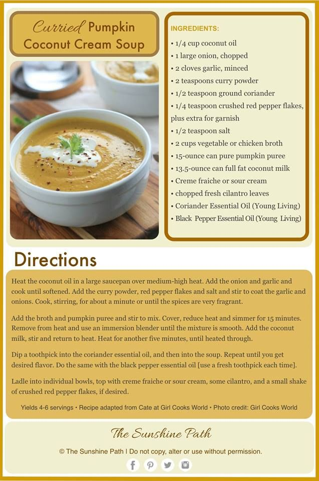213 best recipes with young living essential oils images on curried pumpkin coconut cream soup young living coriander and black pepper forumfinder Gallery