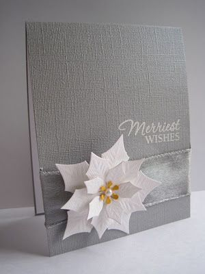 Beautiful pointsetia card using Sizzix die.  Looks so nice with the silver paper and ribbon.