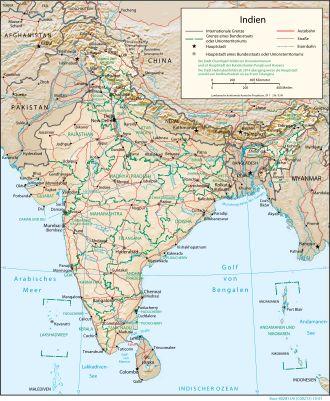 Physisch-politische Karte Indiens