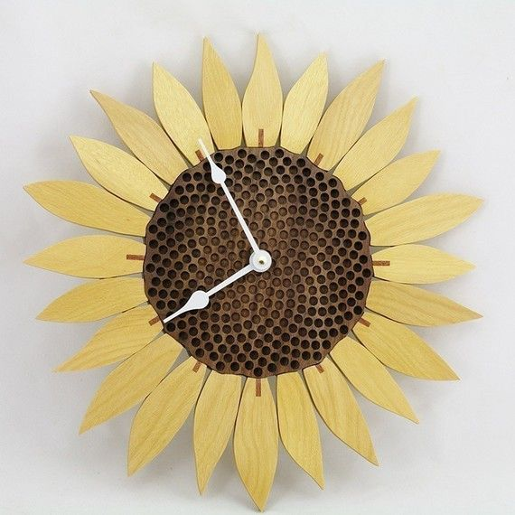 Sunflower clock  Yellowheart by krtwood on Etsy, $65.00