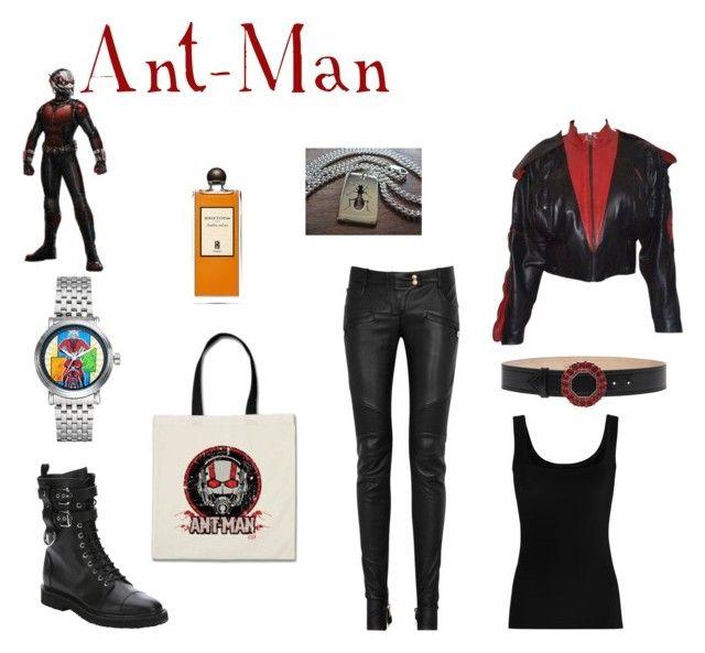 """Ant-Man"" by sfinn on Polyvore featuring Marvel, Balmain, Giuseppe Zanotti, Claude Montana, Alexander McQueen, Twenty and AMBRE"