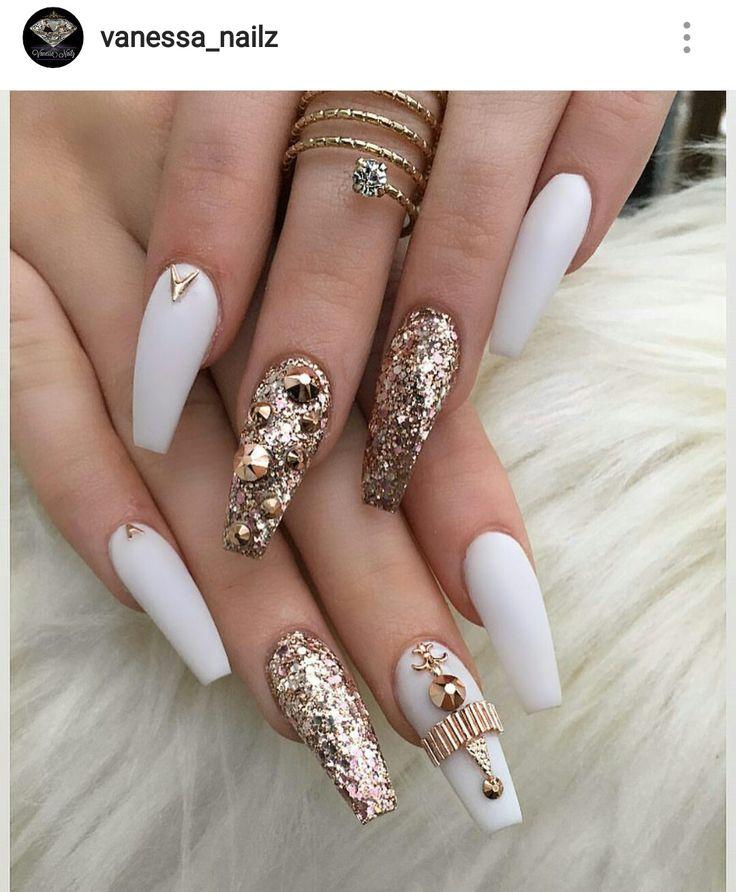 White & Gold Nails @vanessa_nailz on IG ♡ | nails | Nail ...