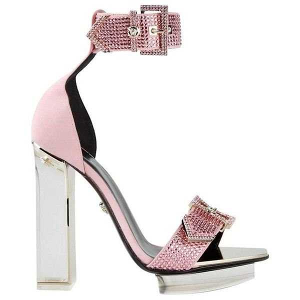 Preowned Versace Pink Crystal Embellished Plexi Platform Sandals ($2,895) ❤ liked on Polyvore featuring shoes, sandals, high heels, pink, clear heel sandals, platform shoes, versace sandals, buckle sandals and heeled sandals