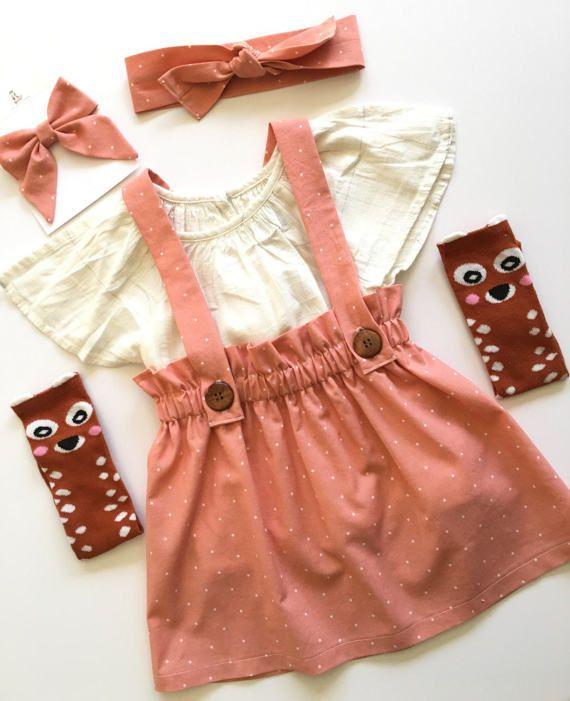 Girl's Antique Coral Suspender Skirt, Vintage Style Jumper, High Waisted Toddler Spring Skirt, Fall Skirt, School Girl, Valentine, sisters