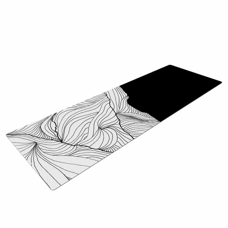 """Viviana Gonzalez """"Lines In The Mountains"""" Black White Mixed Media Yoga Mat from KESS InHouse"""