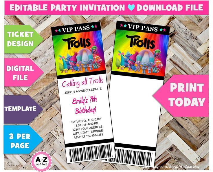 167 best Trolls Birthday Party images on Pinterest Trolls - invitation ticket template