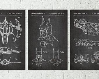 Batman Posters Batmobile Print, Batman Movie Poster, Batman Gifts, Batman Patent Batman Room Decor, Superhero Print, Superhero Wall Art S047