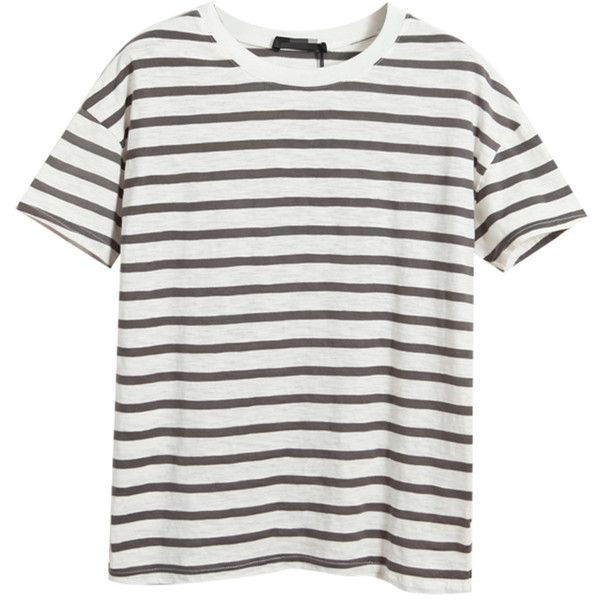 Chicnova Fashion Stripes Short Sleeves T-shirt ($16) ❤ liked on Polyvore featuring tops, t-shirts, shirts, tees, white shirt, t shirts, white striped shirt, short sleeve shirts and white t shirt