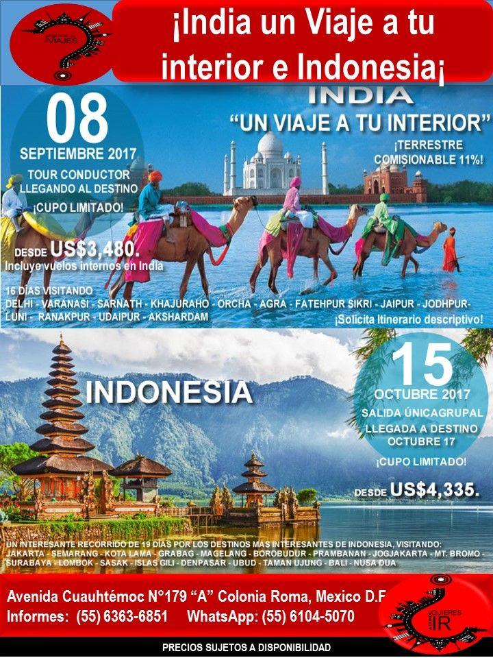 ¡India un Viaje a tu interior e Indonesia¡  Llámanos al 6363-6851 escríbenos al correo: buzon@romaagenciadeviajes.com o Visitamos en: Avenida Cuauhtemoc 179 A Colonia Roma CDMX de Lunes a Viernes de 10 am a 19 hrs y sábados y domingos de 11 hrs a 15 hrs (Cerramos puentes y días festivos) También puedes visitar la pagina web: www.romaagenciadeviajes.com donde pulsando el botón de BOLETOS podrás reservar en linea las 24 hrs del día Boletos Aéreos, Hoteles y Paquetes y aprovechar los meses sin…