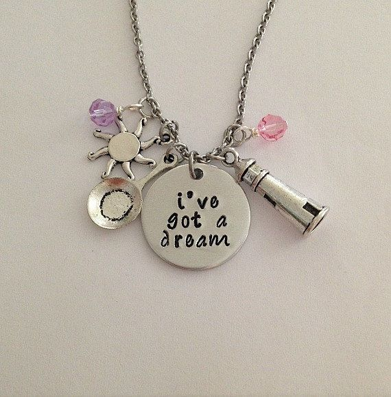 "Disney inspired Tangled necklace ""i've got a dream"" Rapunzel hand stamped Disney Jewelry charm necklace"