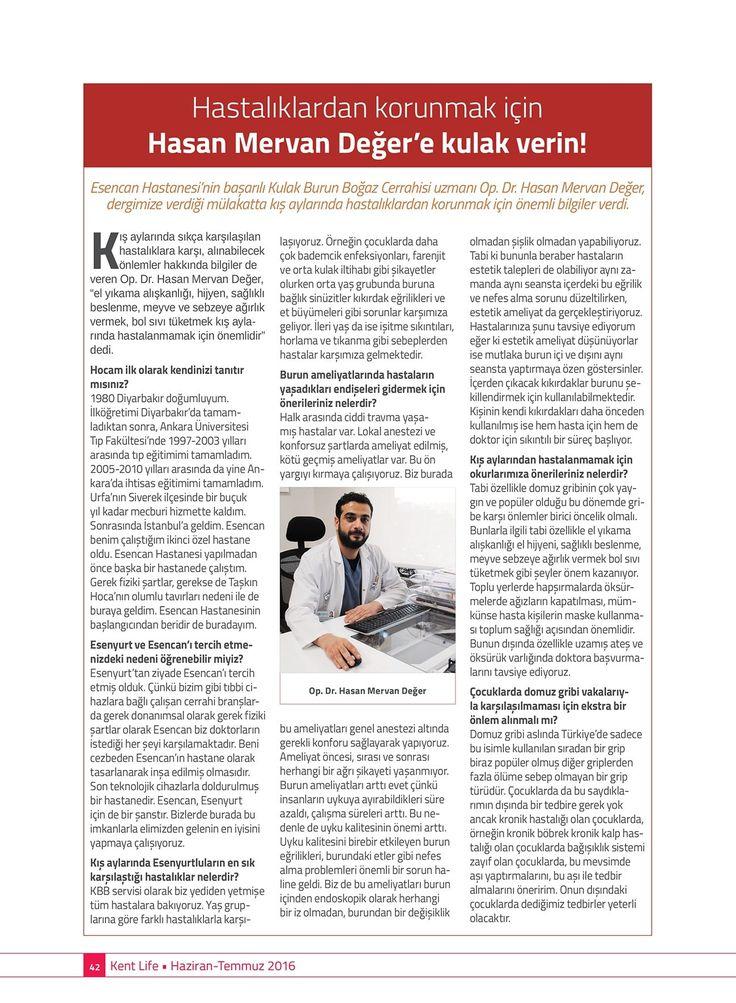 Kent Life Dergisi Haziran 2016Yardımcı Doçent Doktor Hasan Mervan Değer Söyleşisi