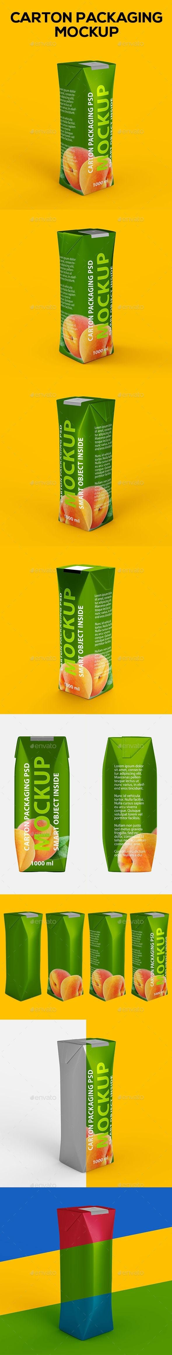 Juice Carton Package #Mockup - Food and Drink #Packaging Download here: https://graphicriver.net/item/juice-carton-package-mockup/20059727?ref=alena994