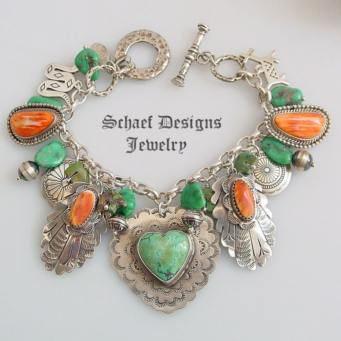 Spiny Oyster Turquoise Heart Fred Harvey Style Sterling Silver Charm Bracelet
