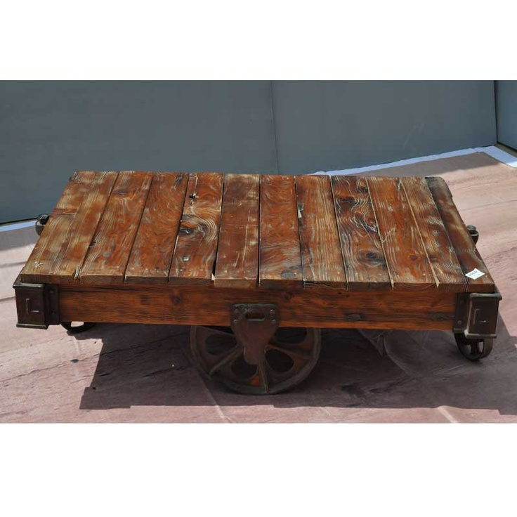 Industrial Cart Vintage Factory Railroad Cart Reclaimed Coffee Table On Wheels Tables